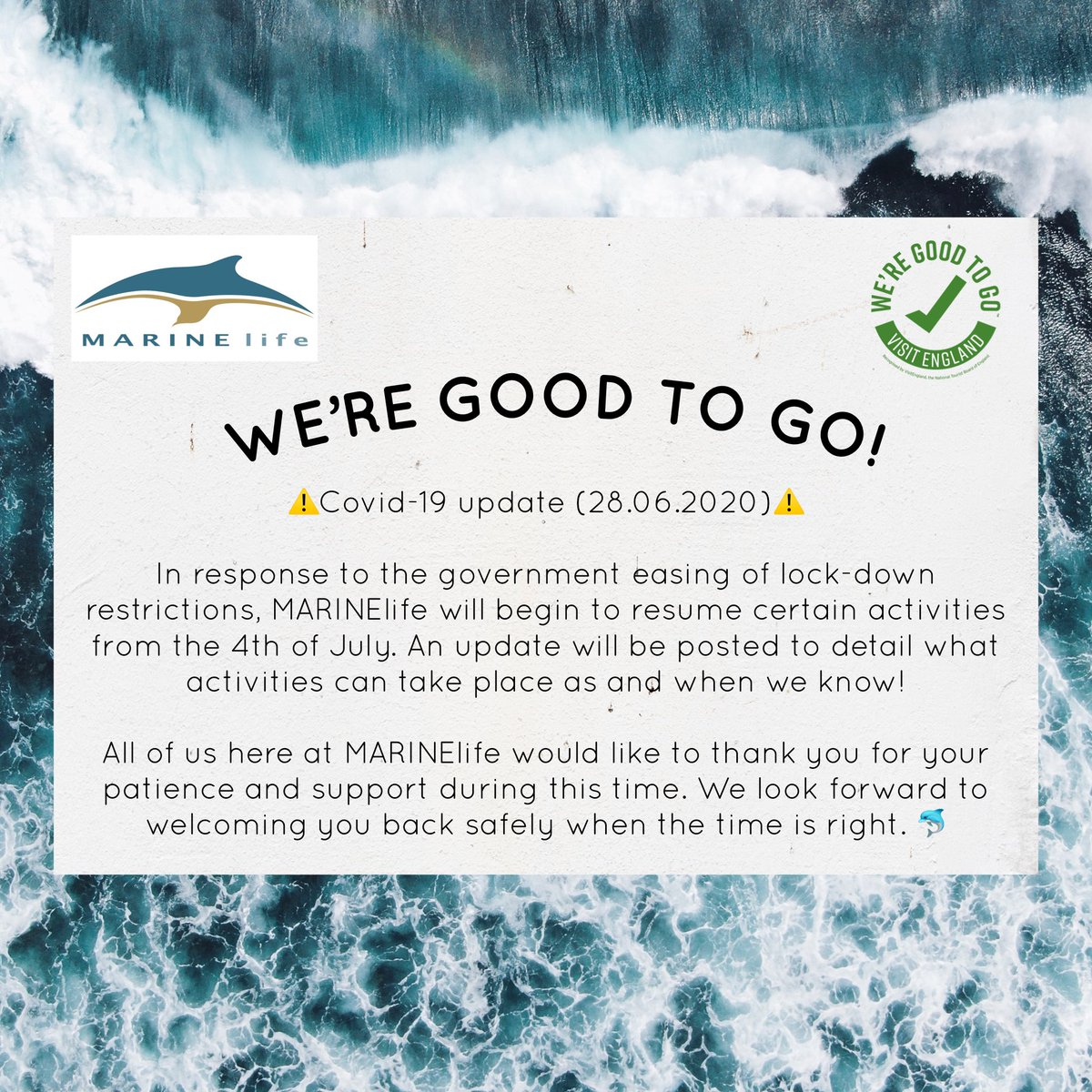 #wereGoodToGo #GoodToGo #charitytuesday #marinelife