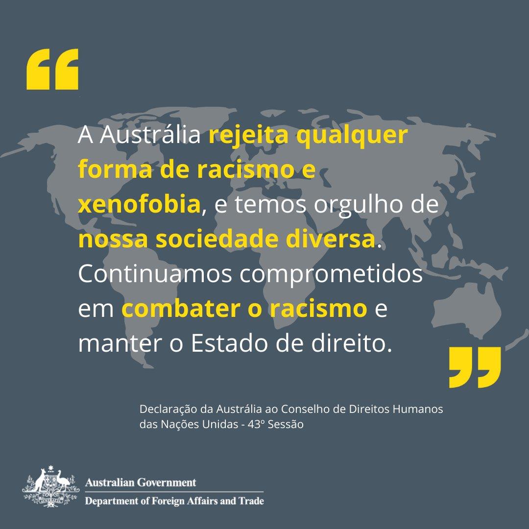 A Austrália se compromete a combater o racismo e a xenofobia em todas as formas. 🇦🇺 Leia mais sobre o trabalho da Austrália no Comitê de Direitos Humanos das Nações Unidas no link: https://t.co/papY8sghue https://t.co/Eo5PX2HIlI