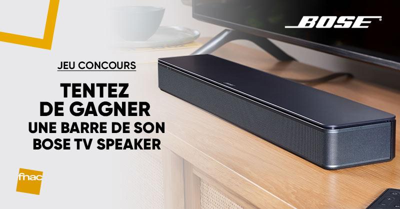 JEU CONCOURS 📺 |Dès maintenant, tentez de gagner une barre de son TV Speaker @BoseFR ! 😍 Pour participer: RT + Follow @Fnac 😏 Bonne chance 🤞 https://t.co/5GZYVGCEpP https://t.co/xTrgcAoh94