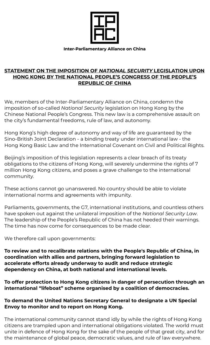 The so-called National Security Law in now published - as feared it is a comprehensive assault on the liberties of the people of #HongKong and a violation of international treaties.   It is now time for the consequences to be made clear to China. https://t.co/4x20JQhNh1 https://t.co/2su7xpLzE6