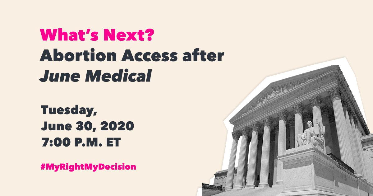 What's next after June Medical? Join us TODAY at 7pm ET on our Facebook LIVE to learn about yesterday's win at the Supreme Court, what's next for abortion access in this country, and how you can take action.⁣ #MyRightMyDecision #AbortionIsEssential⁣