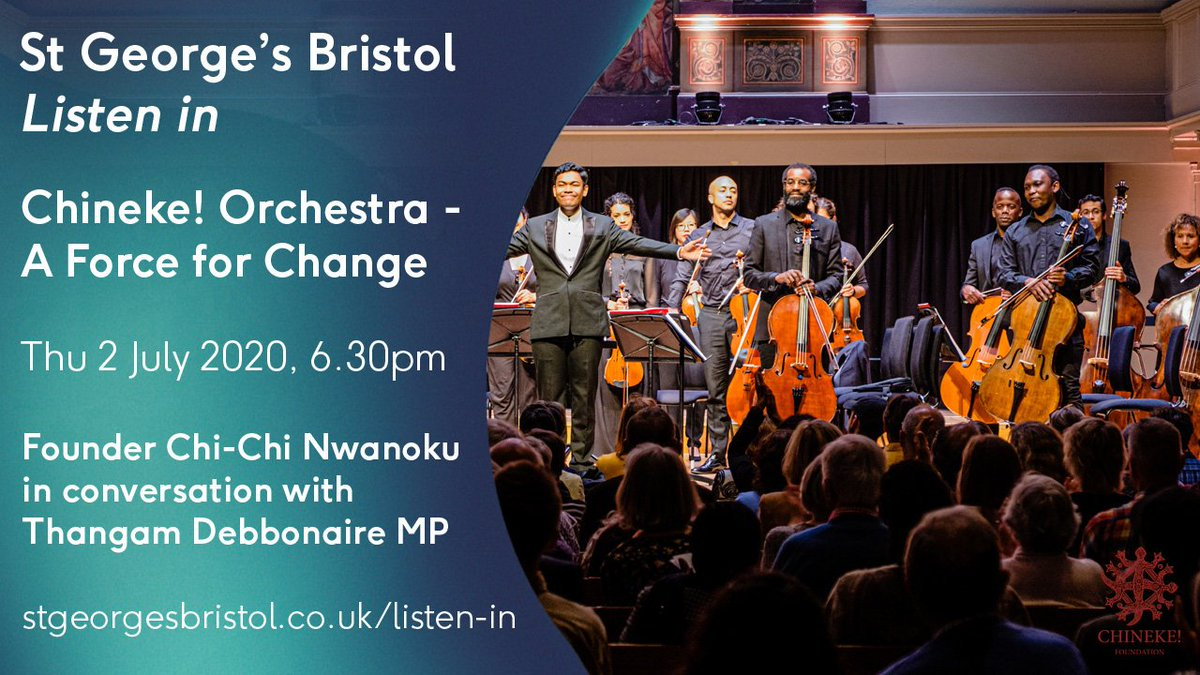Fantastic news! @Chineke4Change is back @stgeorgesbris this Thursday 2nd July as of the digital Listen In. 🙌🏾🙌🏾 A special feature with fomer professional cellist @ThangamMP  in conversation with the Amazing @chichinwanoku, founder of the Chineke! Orchestra.  Do not miss!✊🏾 https://t.co/Ql246ttE4f