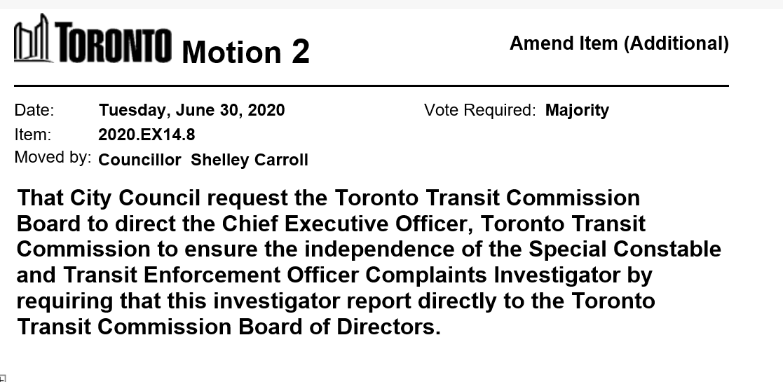 Councillor Carroll has moved a motion on item EX14.8 -  Toronto Transit Commission Status Update - Anti-Racism Strategy and Ombudsman Recommendations https://t.co/ftTXqcVOnx  #tocouncil https://t.co/RnIlk5lgkA