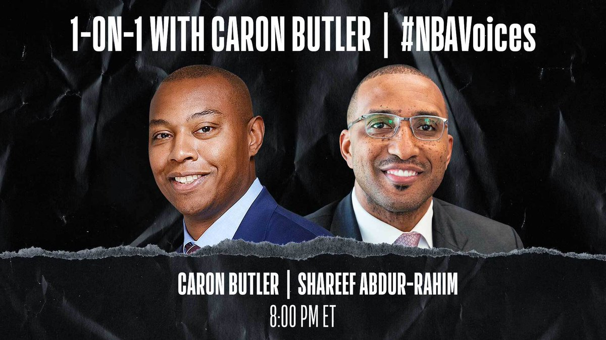 Tune in tonight at 8:00 PM ET on @NBA as Caron Butler (@realtuffjuice) sits down 1-on-1 with @nbagleague President Shareef Abdur-Rahim (@ShareefAbdur_R) to discuss systemic racism and police brutality. #NBAVoices https://t.co/eN6ke1FnaB