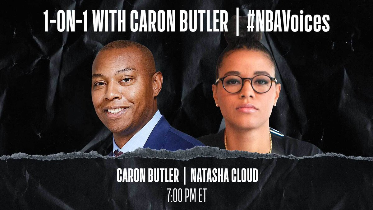 Tune in tonight at 7:00 PM ET on @NBA as Caron Butler (@realtuffjuice) sits down 1-on-1 with Natasha Cloud (@T_Cloud4) of the @WashMystics to discuss her efforts to confront racism, police brutality and our shared responsibility to drive change. #NBAVoices https://t.co/Z5v1r9mxM1