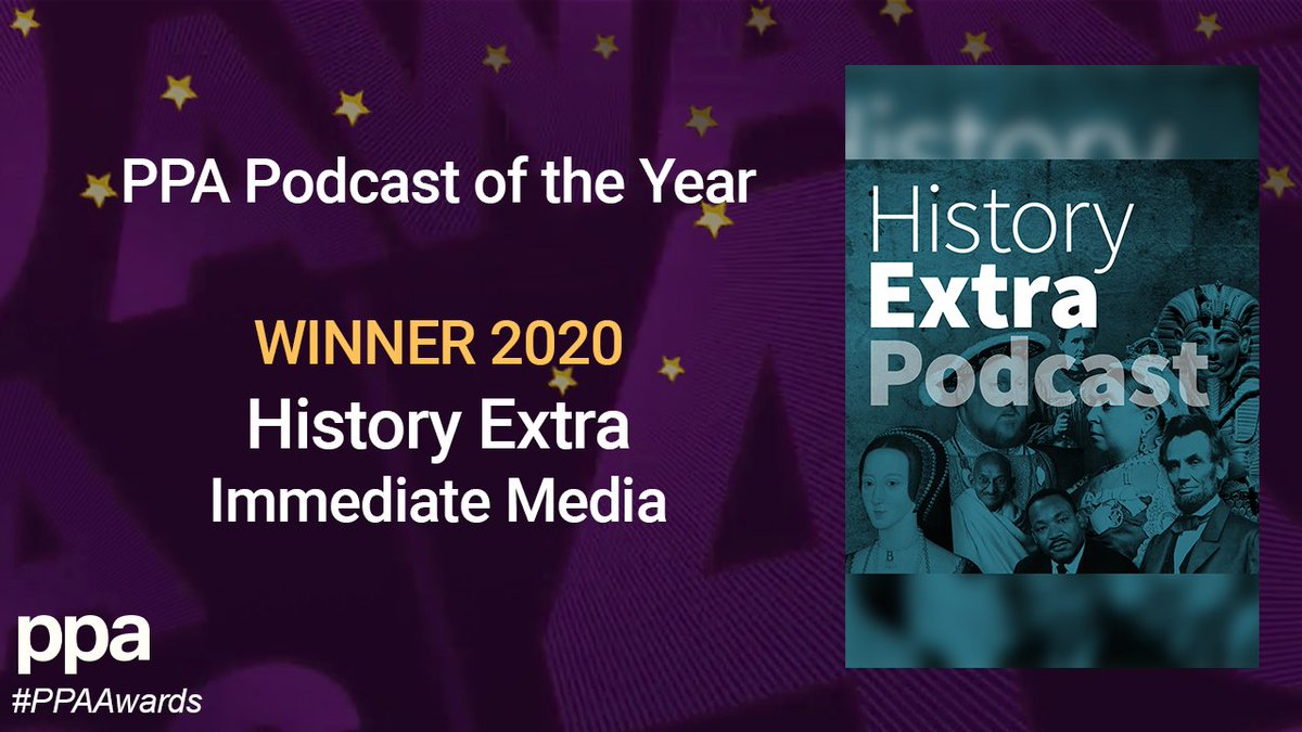 This year is the first time we celebrate Podcast of the Year and the award goes to the @HistoryExtra podcast from @Immediate_Media. #PPAAwards https://t.co/794shQjVZG