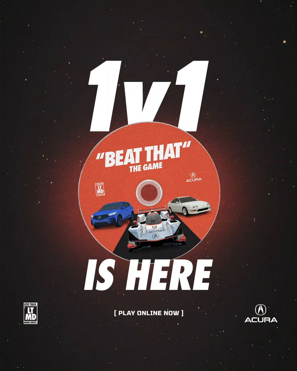 Think you're fast? Challenge a friend head-to-head in the all-new #BeatThat The Game 1v1 mode. Now available online: acura.com/playbeatthat