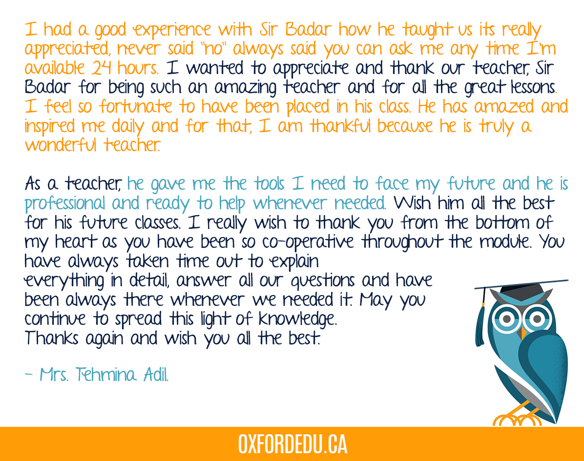 We received this thank-you note from one of our Scarborough students . We love being part of your journey and we are very proud to know that our instructors are 100% committed to their students.  #OxfordCollege #Oxfordedupic.twitter.com/f4MbE0AgpB
