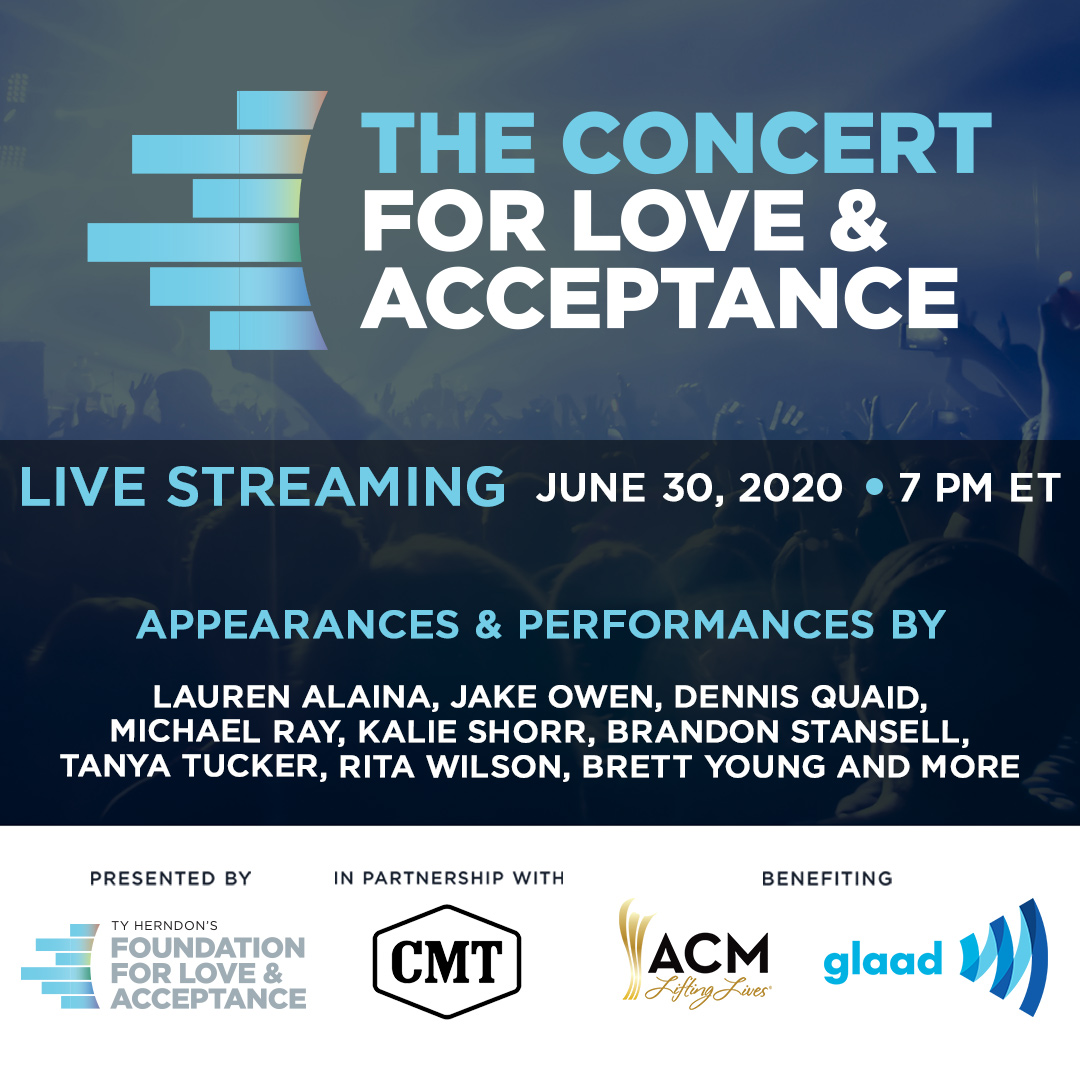 Tune in to the #ConcertForLoveAndAcceptance benefitting #ACMLiftingLives TONIGHT at 7/6c on @CMT's Facebook and YouTube pages.💙And don't miss the Red Carpet Countdown beginning at 5:30pm ET on the Foundation For Love & Acceptance Facebook page! https://t.co/aYFtc31ZpO