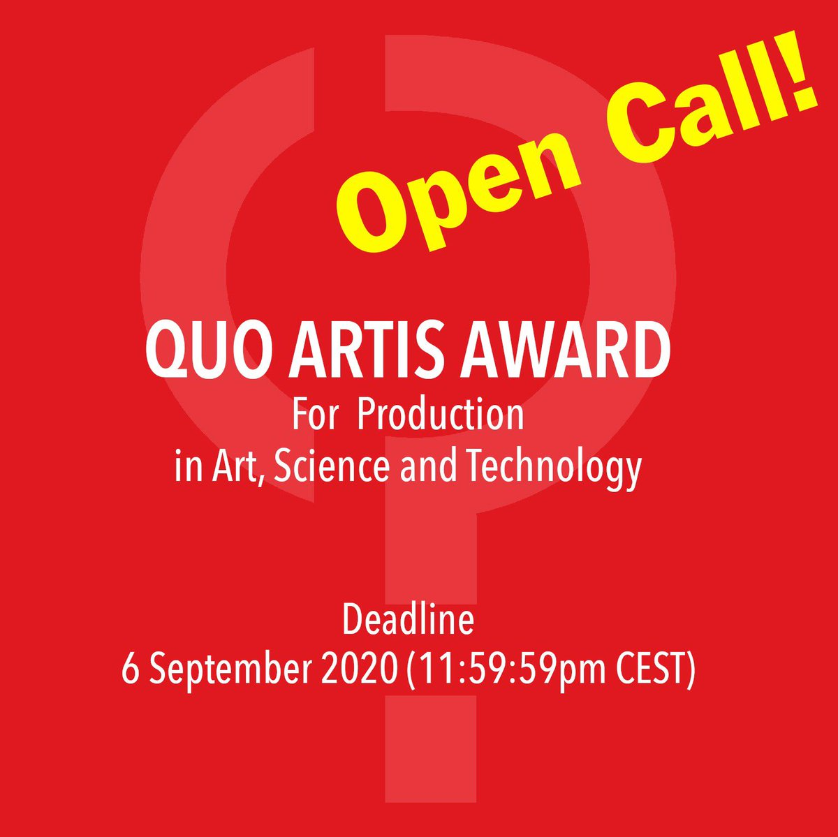 To mark its fifth anniversary, the Quo Artis foundation is announcing the first outing of its award to the research, development and production of an artistic project. Deadline: 6 September 2020 More Information: https://t.co/ch3QC0tN5F https://t.co/1CF4NscqIT