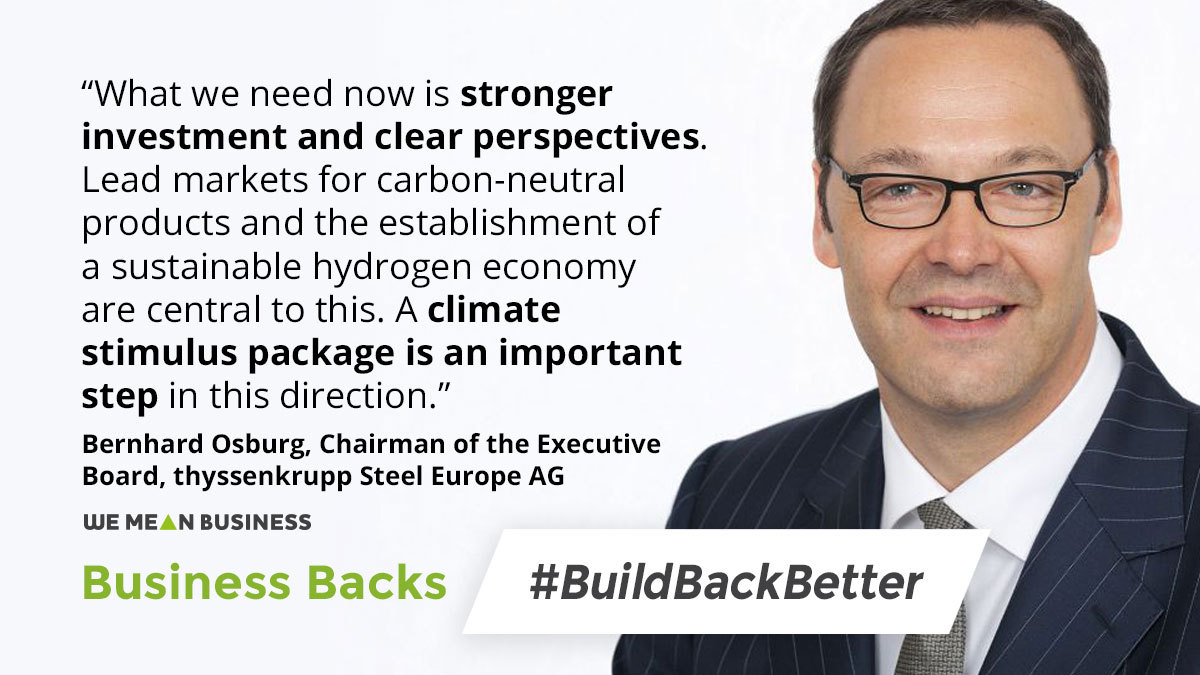 Business Backs #BuildBackBetter: @thyssenkrupp join 68 Germany companies from all sectors of the economy calling for a zero carbon recovery. bit.ly/3cMkNRs #PCD11 #PetersbergClimateDialogue bit.ly/3cMkNRs @Stiftung2Grad #PCD11 #ClimateStimulusProgramme #COVID19