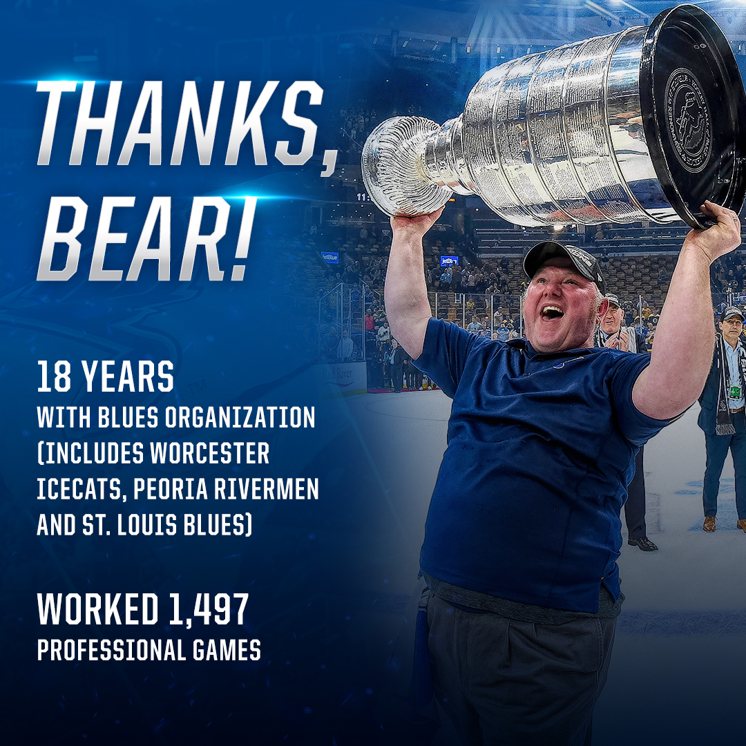 A big heartfelt thank you goes out to Equipment Manager Joel Farnsworth, who after 18 years with our organization has decided to shift to a career in engineering. Thanks for everything, Bear! #stlblues