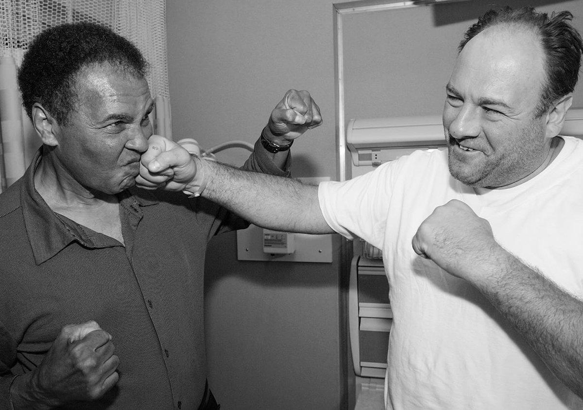 "Muhammad Ali once paid a surprise visit to the 'Sopranos' set.  James Gandolfini, who played Tony Soprano, upon seeing the legendary boxer: ""Holy s--t.""  (via @ShaharAzran, @joerogan)<br>http://pic.twitter.com/jyz3yrfMsQ"