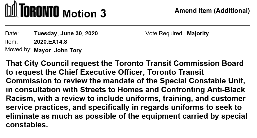 Mayor Tory has moved a motion on item EX14.8 -  Toronto Transit Commission Status Update - Anti-Racism Strategy and Ombudsman Recommendations https://t.co/ftTXqcVOnx  #tocouncil https://t.co/s91nBJ0YaA