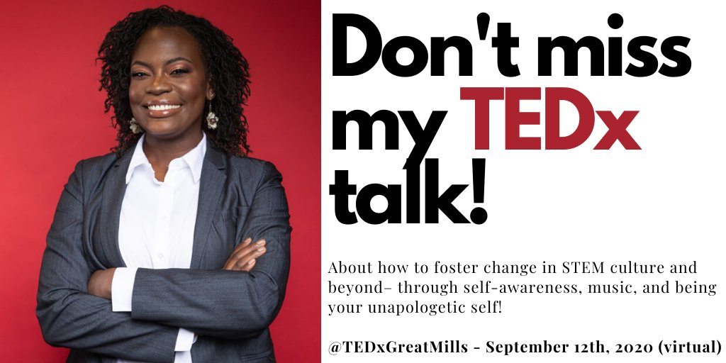 ✨✨Mark your calendars, Im giving a virtual TEDx talk on September 12, 2020! ✨✨ ✨✨Raven will inspire us to think about how to foster change in STEM culture and beyond– through self-awareness, music, and being your unapologetic self!✨✨ tedxgreatmills.com/2020-speakers/