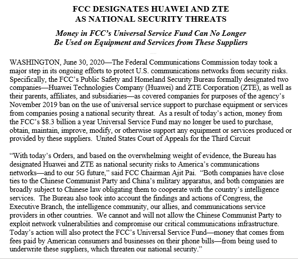 BREAKING NEWS: The @FCC has designated #Huawei and #ZTE as companies posing a national security threat to the United States. As a result, telecom companies cannot use money from our $8.3B Universal Service Fund on equipment or services produced or provided by these suppliers. 1/5 https://t.co/dH6QK4jbd4