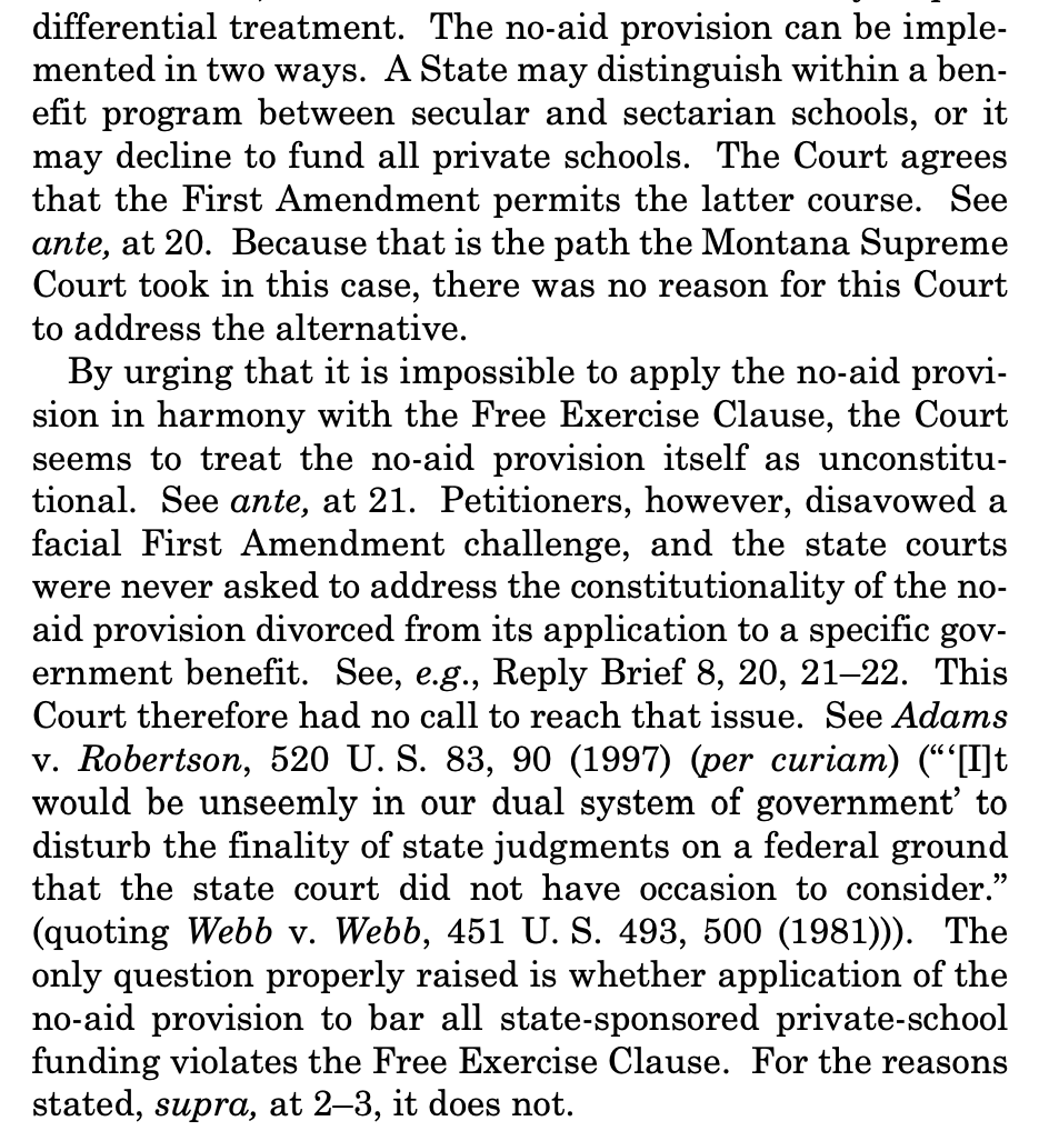 Justices Ginsburg, Breyer and Sotomayor each write separate dissents, totaling 37 pages. Ginsburg (joined by Kagan) says theres no free exercise problem because the decision on review simply eliminated the scholarship program altogether -- meaning the state action is neutral.