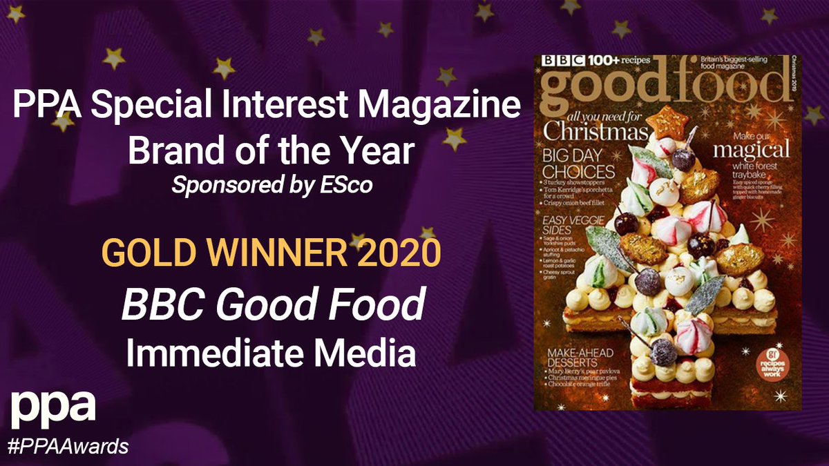 And finally, the winner of the GOLD award for Special Interest Magazine Brand of the Year is @bbcgoodfood from @Immediate_Media. Congratulations! #PPAAwards https://t.co/z2YFLEW3ge