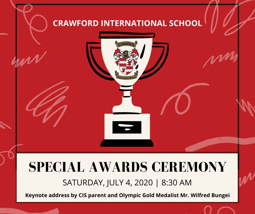 We are excited to host our first Virtual Special Awards this Saturday. Students will receive accolades from 5 different categories. Thank you to parent guest speaker Wilfred Bungei for providing the keynote address. #CrawfordAwards #olympicmedalist #awardsceremony #virtualawardspic.twitter.com/JWp4ibF3NS