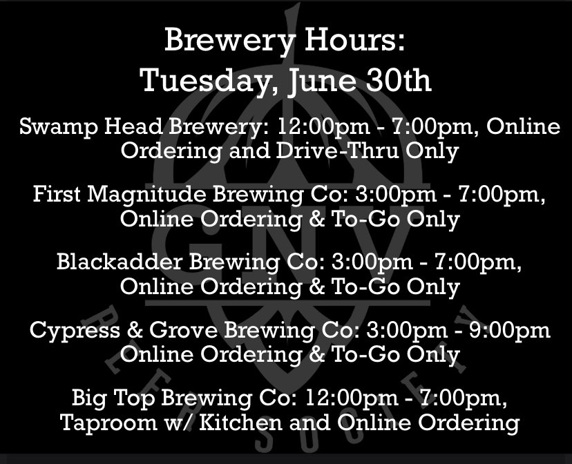 Here are the hours for the last day in June! 🍻 #GNVBeer