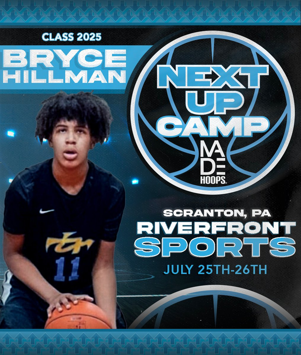 2025 Bryce Hillman is LOCKED IN 🔐 and ready to show out at Next Up Camp in July! 💪 • Are YOU Next Up? It's time to #CreateYourName. • 🗓: July 11th-12th, 18th-19th, & 25th-26th ⛹️: Classes 2021-2026 🏟: Riverfront Sports 📍: Scranton, PA 🎥: All games live-streamed https://t.co/hAK3Hi9A8K