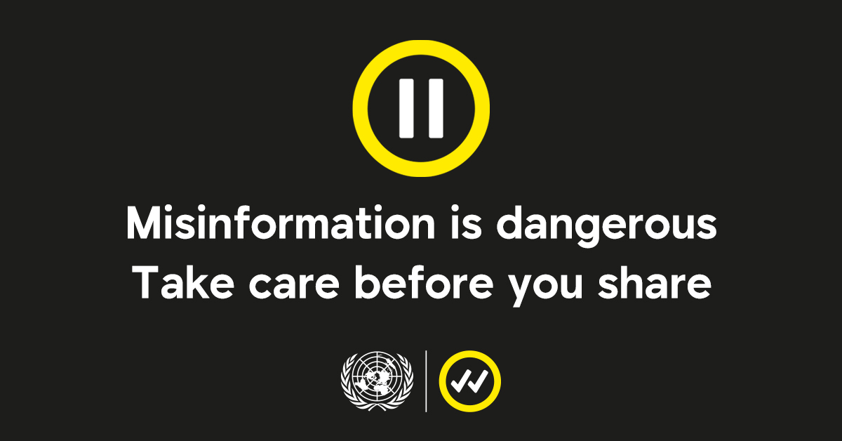 """Misinformation is dangerous & can hamper our ability to make progress on global issues.  On Tuesday's #SocialMediaDay, we launched """"Pause"""" — a campaign that asks everyone to take time to think about what you share online. #TakeCareBeforeYouShare.  https://t.co/9cNARGlEUN https://t.co/71VxfAW7OZ"""