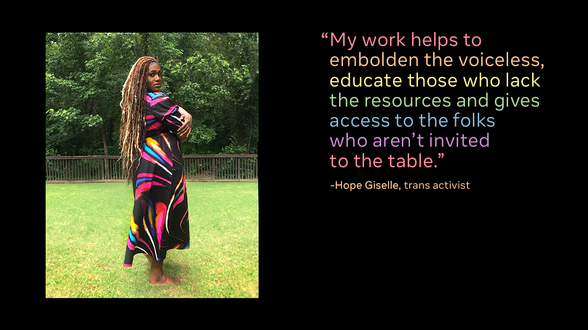 This year for #Pride, we're celebrating by showcasing Black LGBTQ+ activists and community leaders.  Meet @HopeDisguised  She's a trans activist and the founder of the #AllowMe Movement, which helps young LGBTQ+ people of color find and succeed in leadership positions. https://t.co/UpsASHH7b1