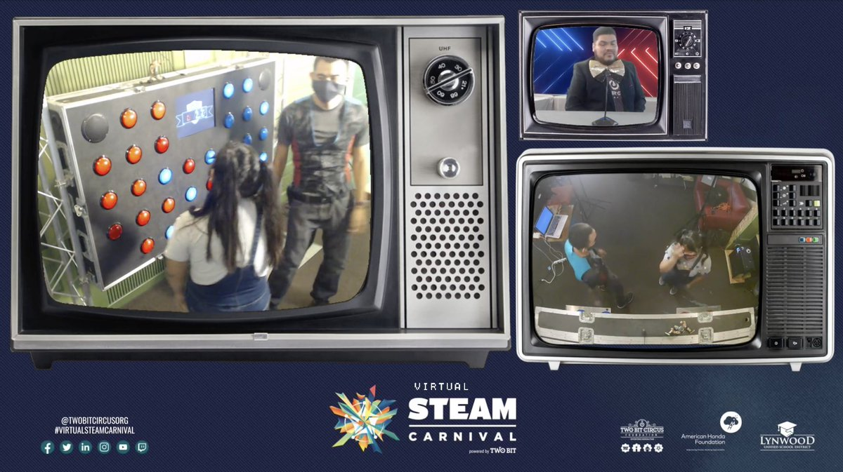 We are LIVE right now with our Virtual STEAM Carnival. Please join us for interactive games + much more! https://t.co/b1nmEM0dNY 🎪 #kids #fun #familyfun #sciencefromhome #steameducation #steam #stem #americanhondafoundation #fun #play #twobitcircus https://t.co/ZKtMiUg8pR