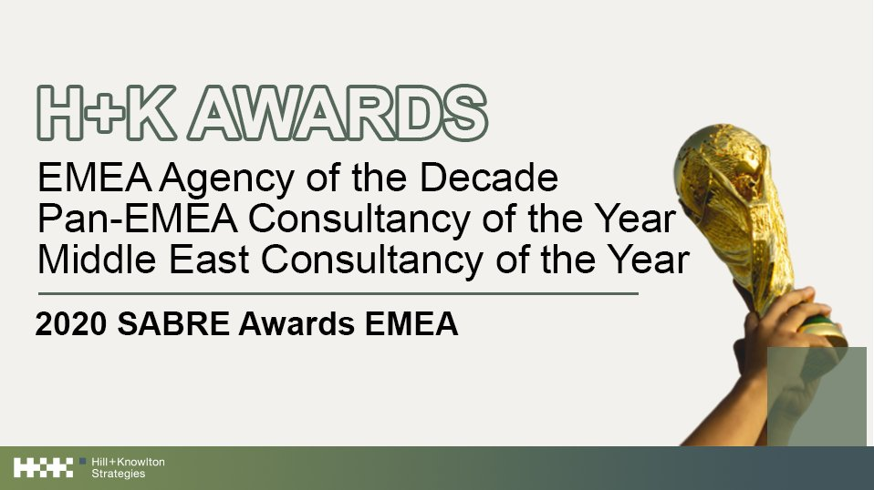 H+K is proud to announce our wins for EMEA Agency of the Decade, Pan-EMEA Consultancy of the Year, and Middle East Consultancy of the Year at the 2020 SABRE Awards EMEA! Congratulations and thank you to every H+Ker for this extraordinary recognition. #HKproud @Provoke_News https://t.co/ayqYjRYh4i