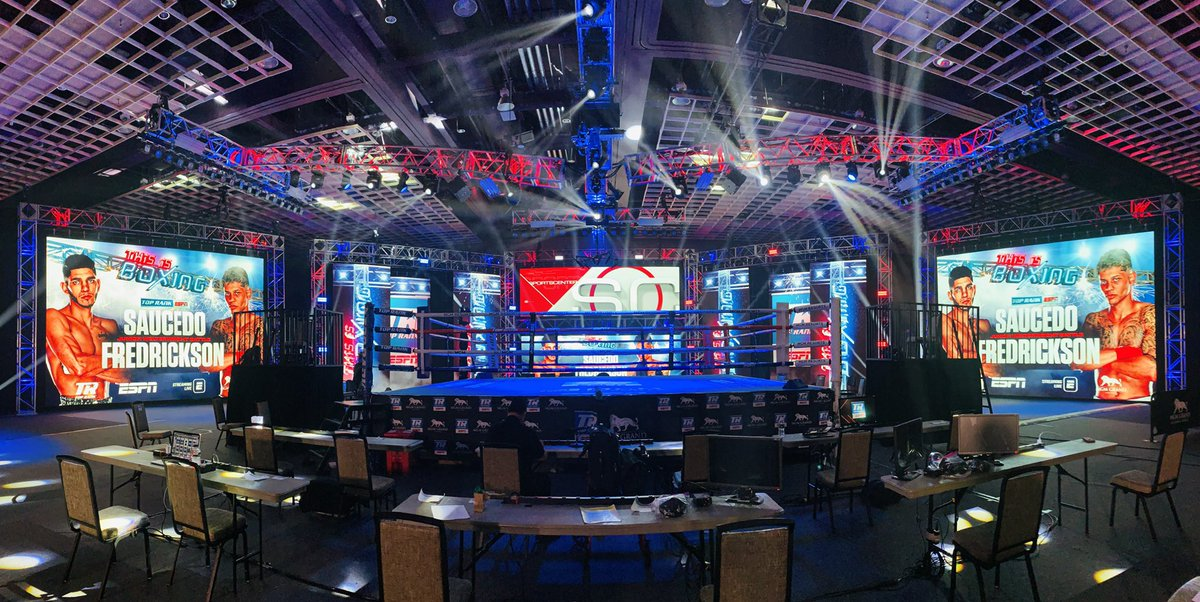 Easily the most unique Fight Night setting I've seen up close. Pretty cool. 🥊  #SaucedoFredrickson | ESPN - 8pm ET https://t.co/8MnVboex3K
