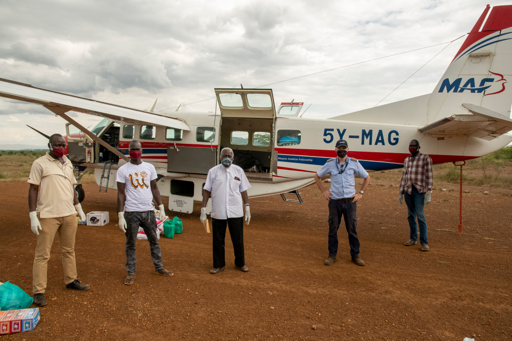 Focus on Partnership: Recently, MAF South Sudan had the privilege of flying for Holy Trinity Peace Village Kuron. Pilot Wim flew in a full load of freight in 5Y-MAG including 4 Land cruiser tyres, food, and items including face masks to protect the community against Covid-19.