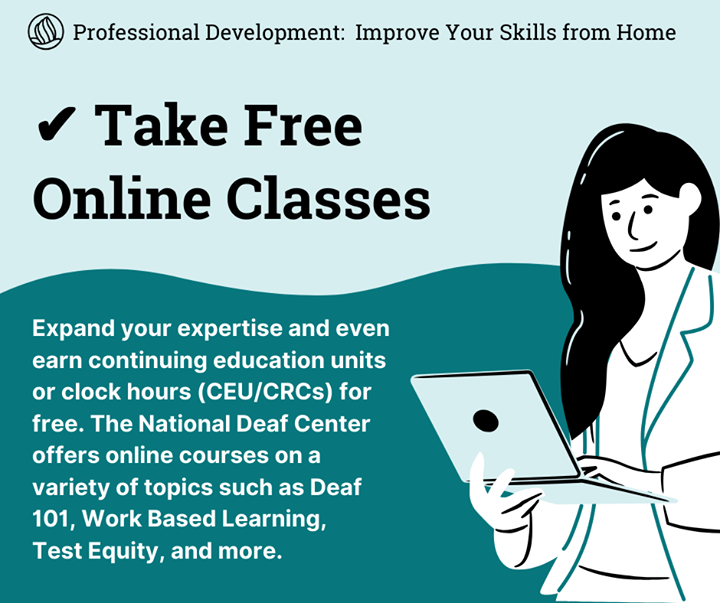 Need professional development to improve your work with #DeafStudents and clients? Take free online classes! Many resources offer CEUs or clock hours, including us! Brush up on Deaf 101, Test Equity, Effective Communication Access and more. Learn more: https://t.co/qL58AelOfT https://t.co/GehGns7RRY