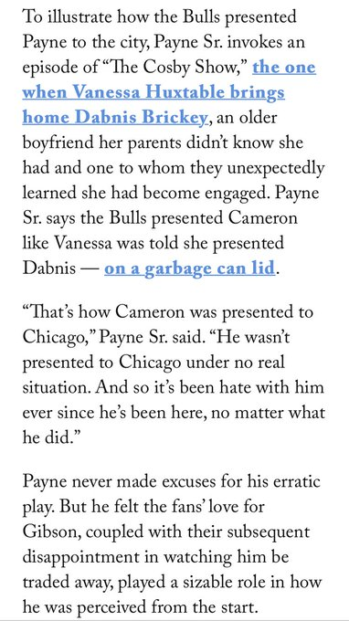 .@DarnellMayberry wrote a good story on Cam Payne after he was traded to Cleveland in January 2019. Cam Payne Sr. had a great pop-culture comparison to his sons rough ride in Chicago. theathletic.com/778583/2019/01…