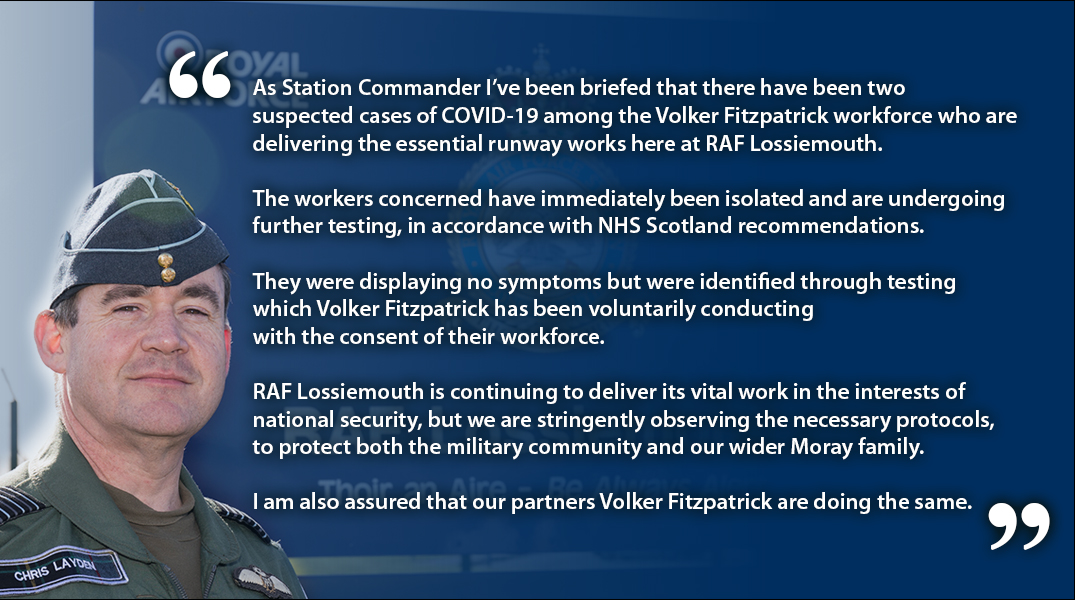 Statement from @StnCdrLossie reference two suspected cases of COVID-19 among contractors working at RAF Lossiemouth 👇 https://t.co/5bbMQJJ4FR