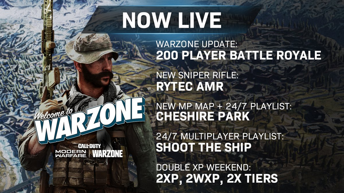 Drop in with 200 players, go off in Shoot the Ship, and grind up this weekend with double XP, WXP, and Tiers. Heres your Incoming Intel for #ModernWarfare and #Warzone.