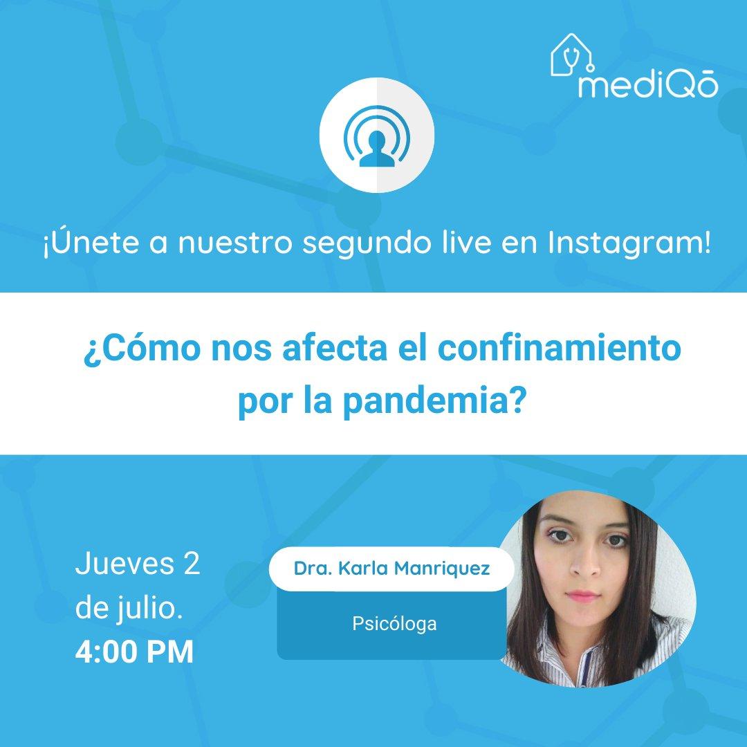 """Únete a nuestro segundo live en Instagram: """"¿Cómo nos afecta el confinamiento por la pandemia?"""" con la Dra. Karla Manriquez 👇 Síguenos en IG para no perdértelo: https://t.co/rBgjxSV6ES https://t.co/uZohqjaTT6"""