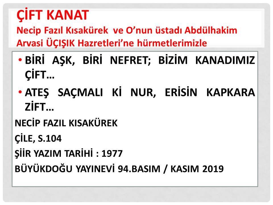 """""""ÇİFT KANAT"""" Necip Fazıl Kısakürek ve O'nun üstadı Silsile-i Aliye-i Nakşibendiye'nin 33'üncüsü Abdülhakim Arvasi Üçışık Hazretleri'ne hürmetlerimizle #abdulhakimarvasi #arvasi #NecipFazılKısakurek #buyukdogu #şiir #necipfazılkısakürek https://t.co/wkgvIZovgq"""
