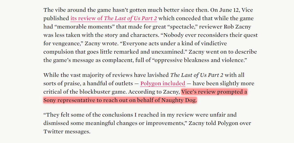 "This is so fucking weird.  Based on reporting coming from Polygon, Sony reps on behalf of Naughty Dog reached out to VICE about their negative review of #TheLastofUsPart2   Apparently they didn't ""agree"" with some of the opinions & points made in the review. WHAT THE...?! 😶 https://t.co/3CnXoSphuE"