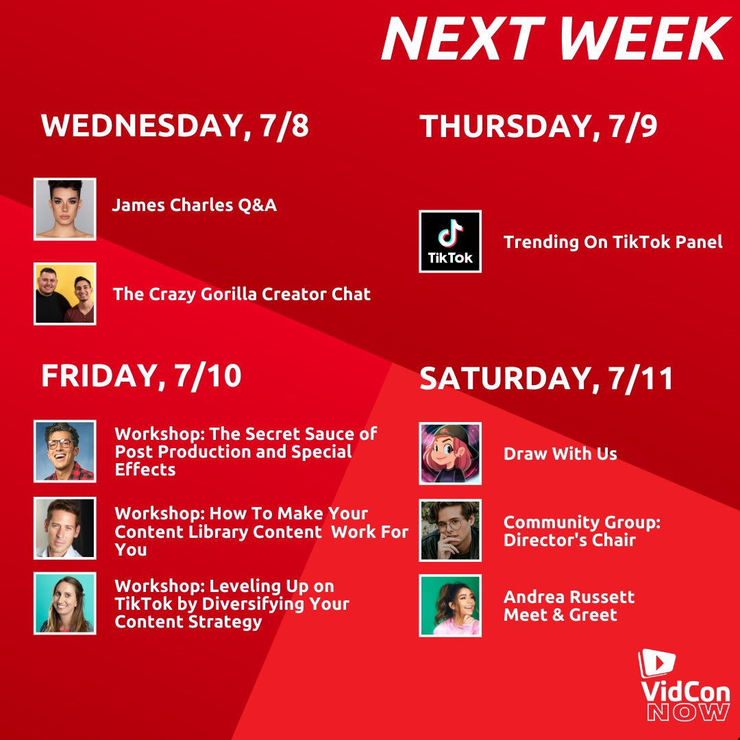 Here's what's coming up at #VidConNow!