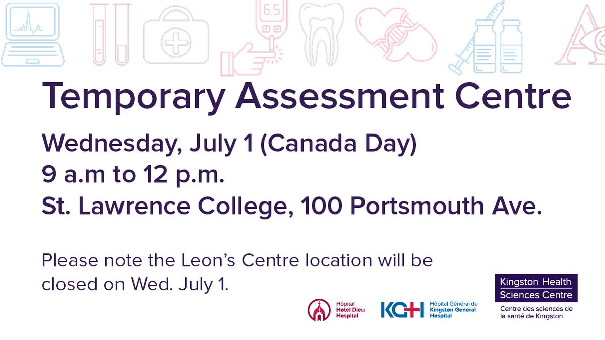 test Twitter Media - To continue meeting the demand for COVID-19 testing following the recent community outbreaks, the Temporary COVID-19 Assessment Centre will operate again at St. Lawrence College TODAY Wednesday July 1 from 9AM to 12PM @KFLAPH @FPSParamedics @cityofkingston @whatsinsideslc #ygk https://t.co/40QRI95e6O