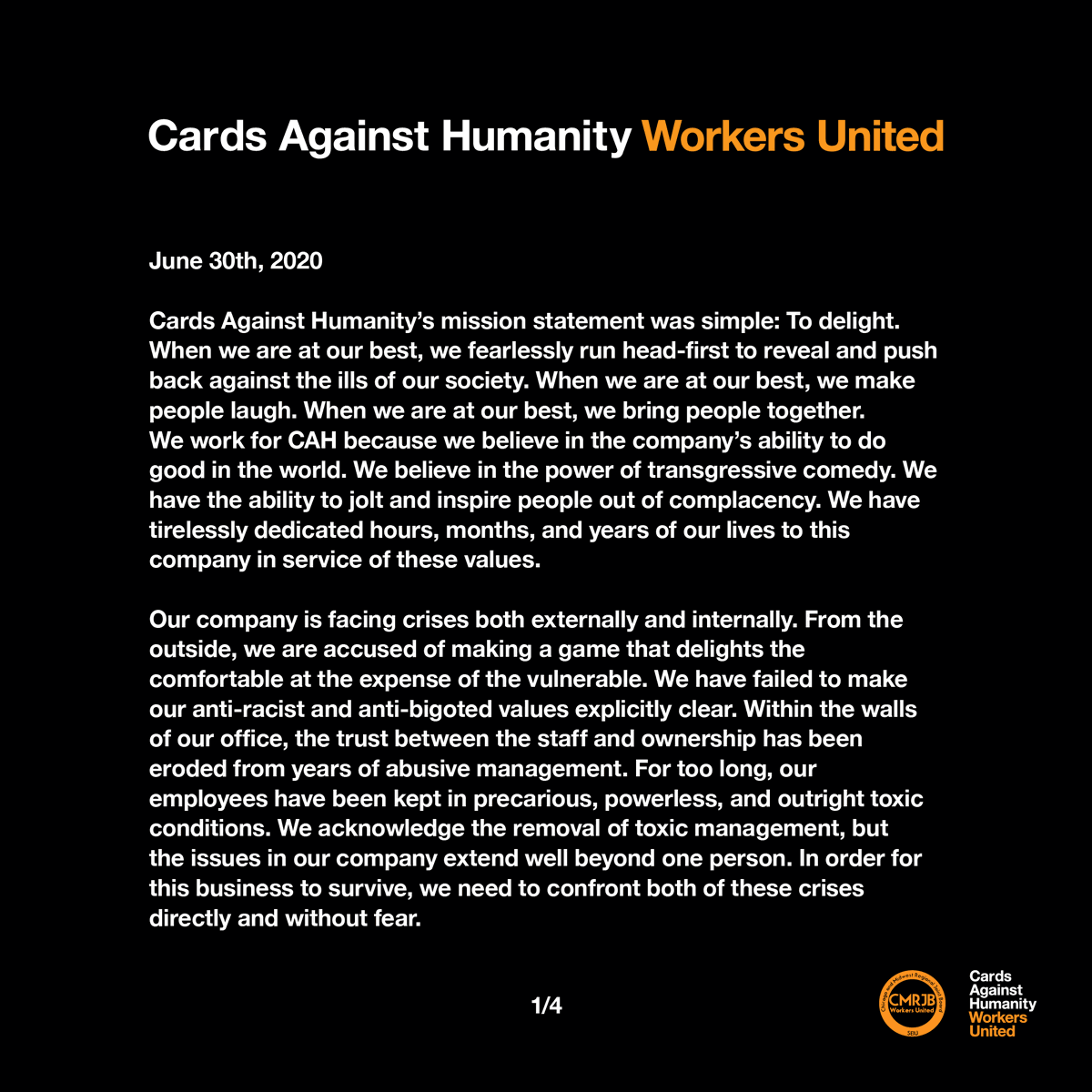 We, the workers, want to change Cards Against Humanity for the better. That's why we've joined @CMRJB. Today we sent this letter to the owners of @CAH demanding voluntary recognition of our union. We're optimistic they'll do the right thing. #1u