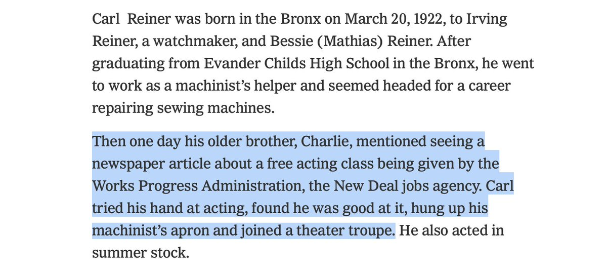 I had no idea Carl Reiner was on a path to being a sewing machine repairman until his brother told him about a free New Deal acting class. What a different country we could have if we wanted to spend our money on stuff like that instead of death machines. https://t.co/5lrfja80Lq https://t.co/XyZf8YoOFz