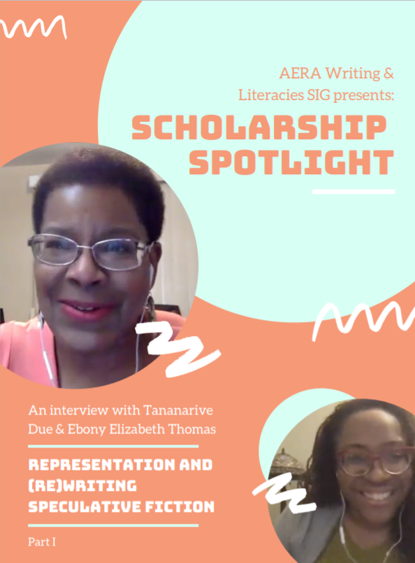 """**NEW RELEASE**: The 1st episode of our new podcast series """"Scholarship Spotlight"""" features @TananariveDue and @EbonyTeach reflecting on their histories and critical involvement with (re)writing the genre of speculative fiction #literacies https://t.co/lazxJ820rh https://t.co/NputZ2PcDm"""