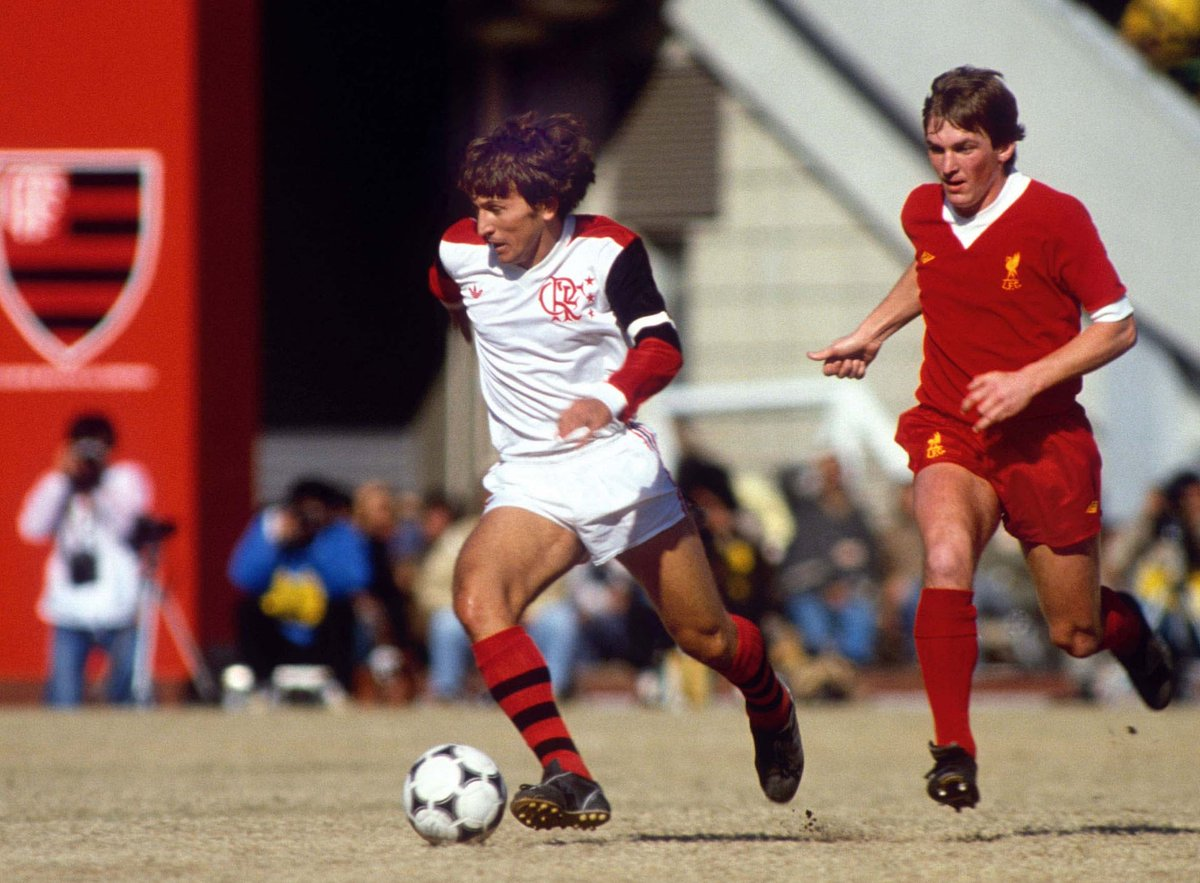 Zico in action for Flamengo against Liverpool in 1981.    Colorsport/Shutterstock <br>http://pic.twitter.com/zZwgSNwmnu