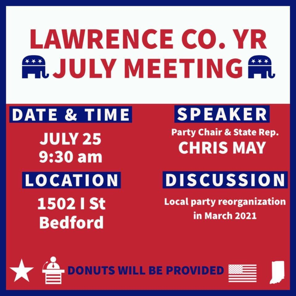 #GetInvolved and join us at our July meeting!  Guest Speaker: @RepChrisMay  #YoungRepublicans pic.twitter.com/WE7gfPty1x