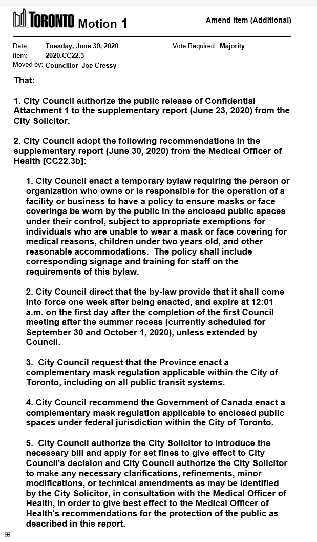 Councillor Cressy has moved a motion on Item CC22.3 - Report to City Council on COVID-19 Actions and Council Directions https://t.co/s6mRXfF6L2  #tocouncil https://t.co/7wYMpeLMxi
