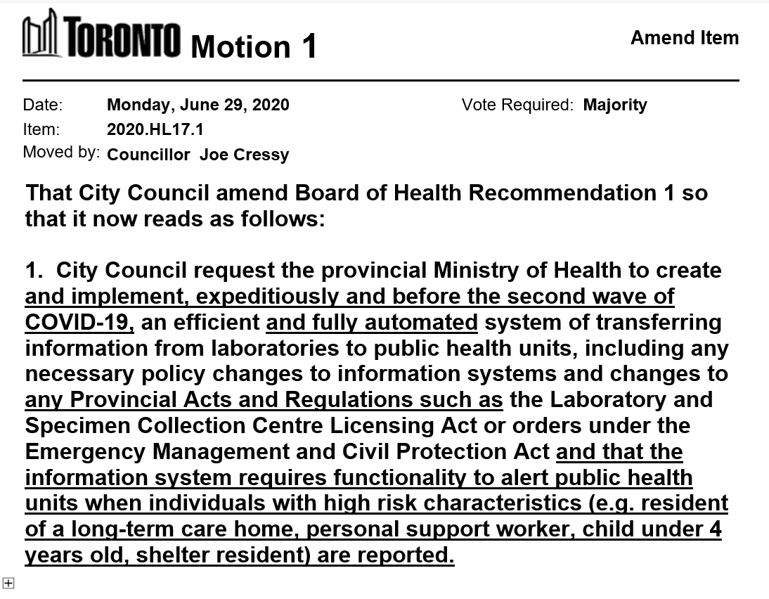 Councillor Cressy has also moved a motion on Item HL17.1 - COVID-19 Response and Recovery - Update https://t.co/RjepHs41NL  #tocouncil https://t.co/X1Ut2odP6f