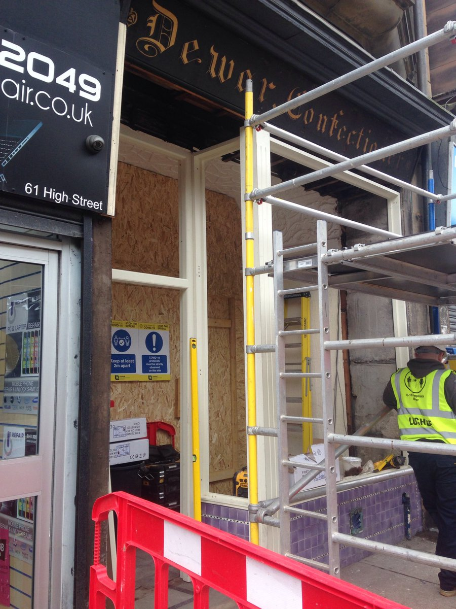 Installation of a new shopfront is underway in Paisley High St #thcars2