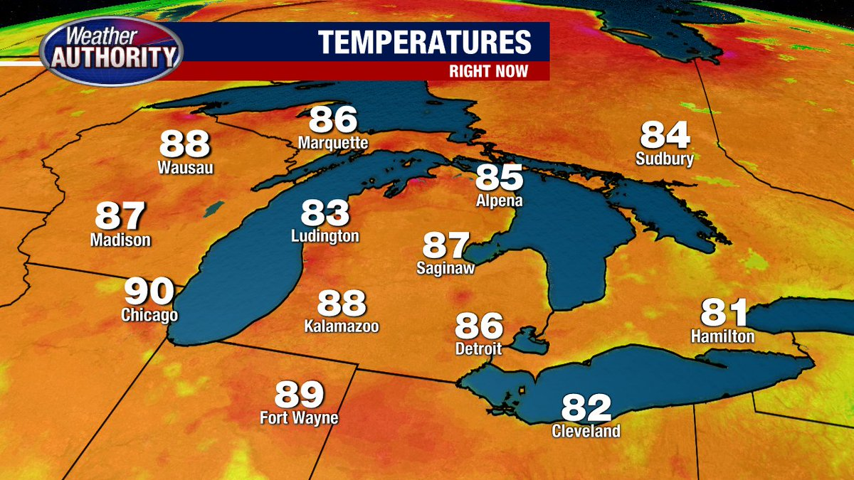4:30 PM Temps... SUNNY & WARM for all of MICHIGAN today!!!!! USE SUNSCREEN and DRINK WATER!!!!