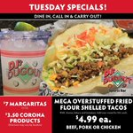 It's a MEGA Overstuffed Taco kind of Tuesday! $4.99 Beef, Pork, or Chicken Overstuffed Fried Flour Shell Tacos! 🌮 😁 Plus $7 32oz Margaritas & $3.50 Corona Products. Dine-in or carry out here https://t.co/duqkoKx1Ac
